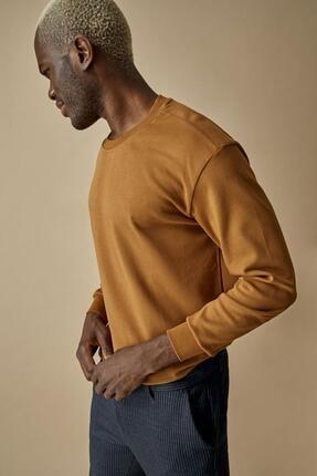 DeFacto Erkek Camel Oversize Fit Bisiklet Yaka Basic Sweatshirt