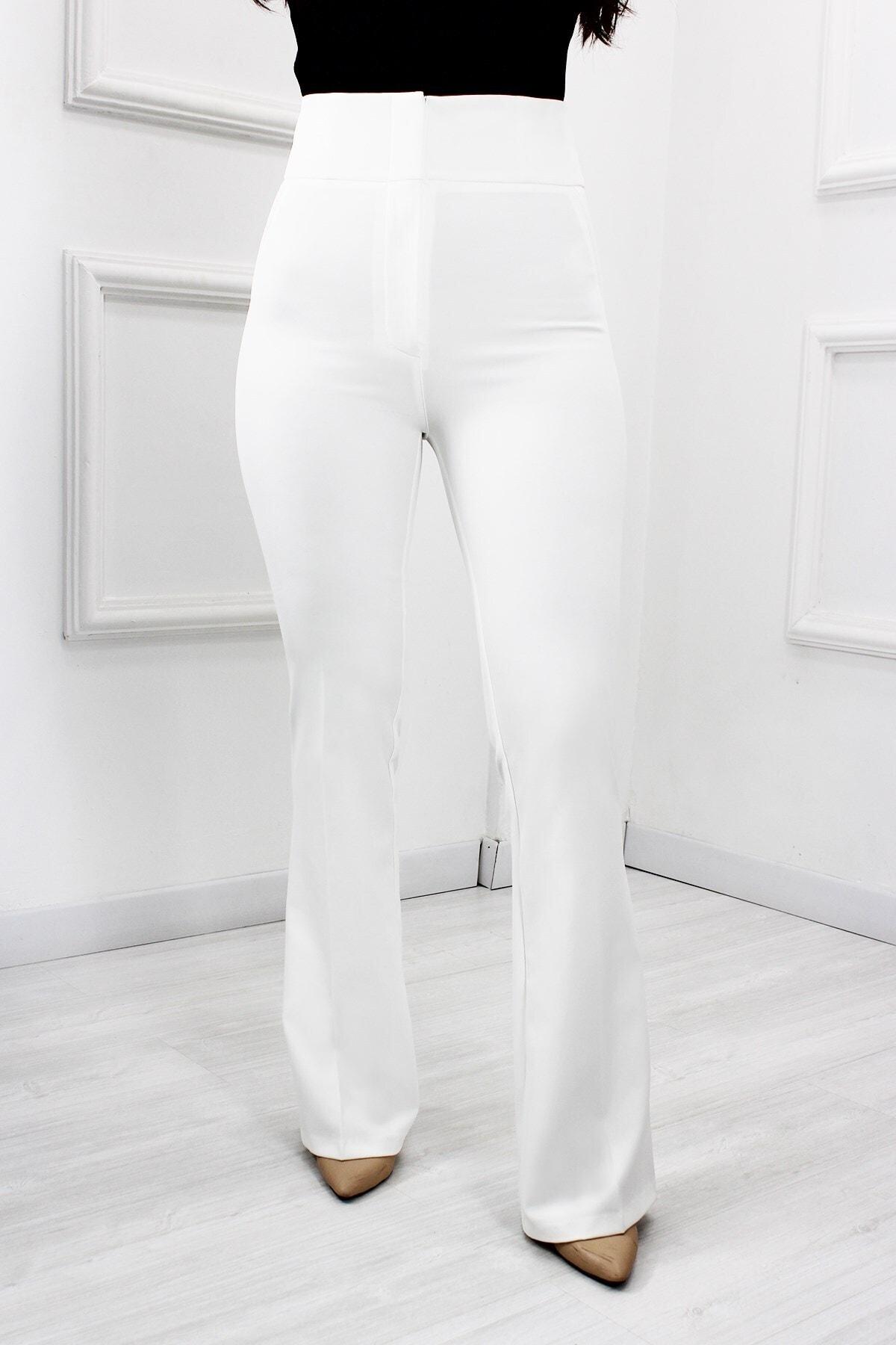 UGİMPOL Kadın Beyaz Yüksek Bel İspanyol Paça Pantolon 1