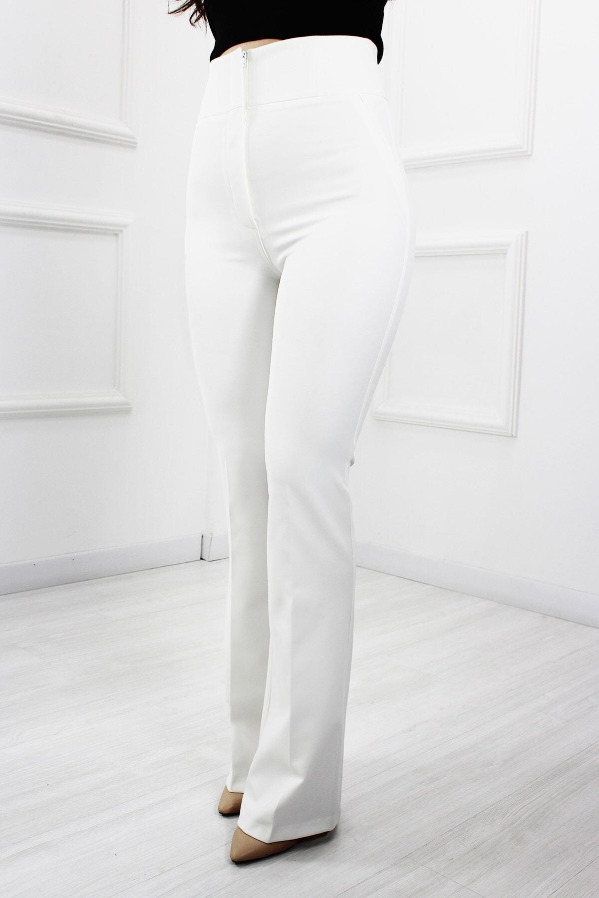 UGİMPOL Kadın Beyaz Yüksek Bel İspanyol Paça Pantolon 2