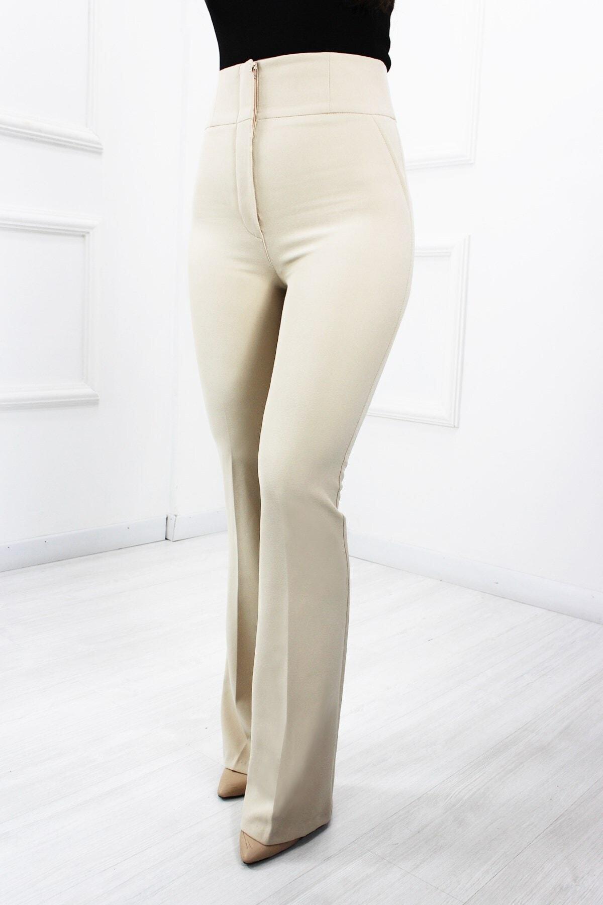 UGİMPOL Kadın Bej Yüksek Bel İspanyol Pantolon 2