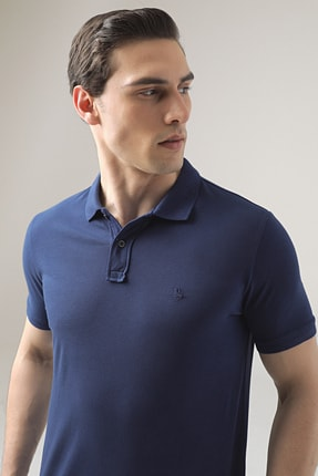 D'S Damat Erkek  Saks Mavi Regular Fit Pike Dokulu T-shirt