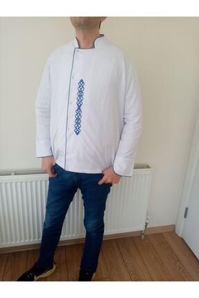 TRENDMODE Beyaz Mavi Biyeli Nakışlı Aşcı Ceketi