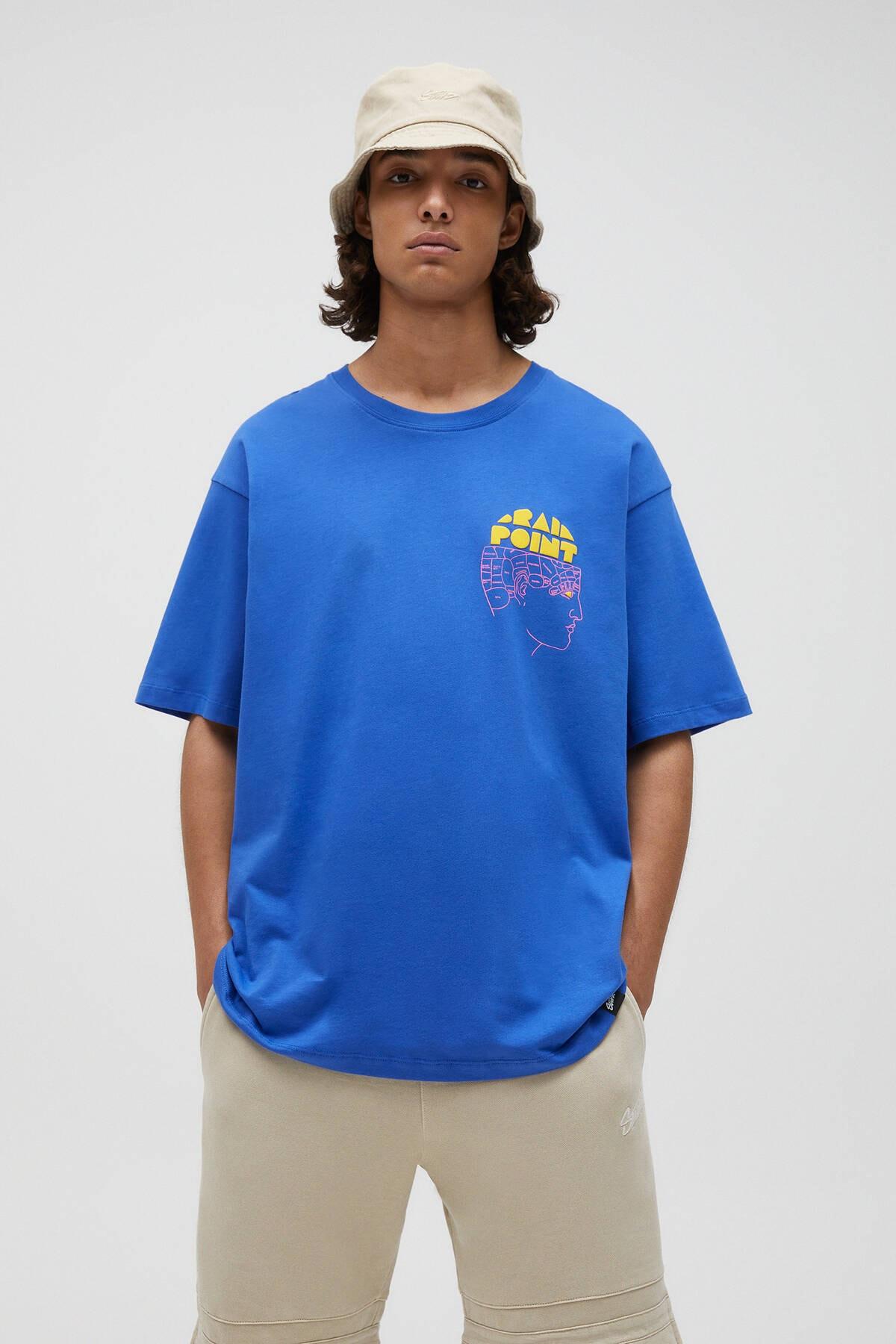 Pull & Bear Erkek Önü Baskılı Mavi T-shirt