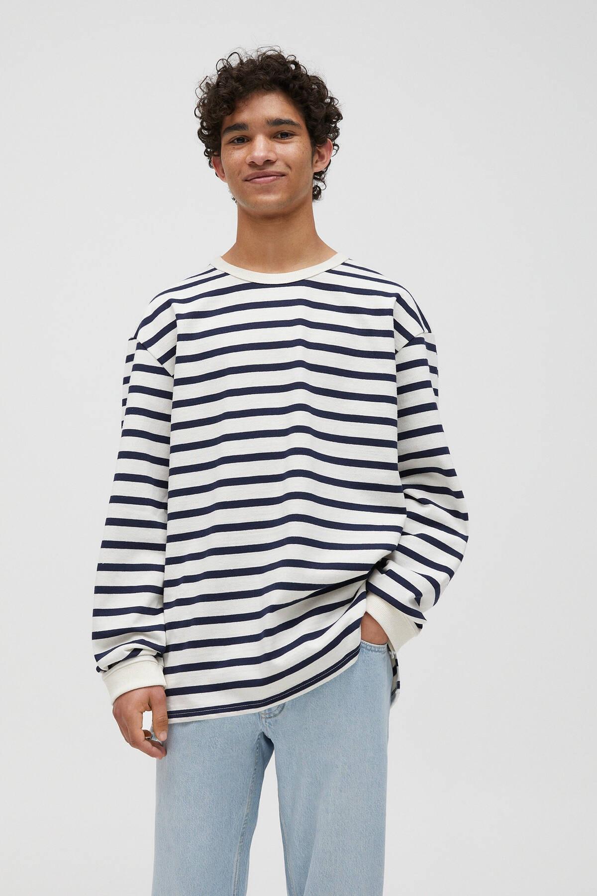 Pull & Bear Çizgili Ağır Kumaş T-shirt