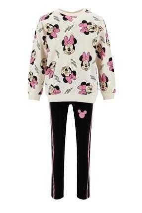 DeFacto Kız Çocuk Siyah Minnie Mouse Sweatshirt ve Tayt Takımı