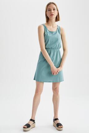 DeFacto Askılı Basic Beli Büzgülü Relax Fit Miniyazlık Elbise