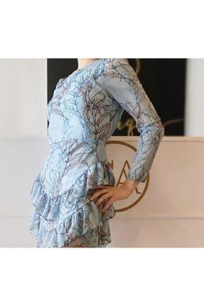 CA BOUTIQUE Mavi Çiçekli Mini Elbise