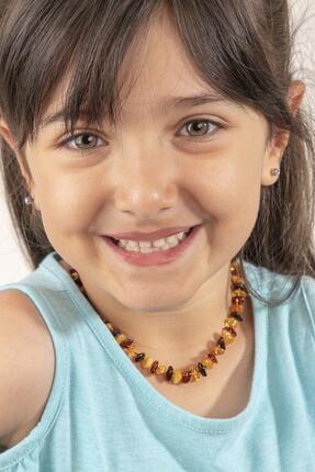 KEHRİBARIM Kız Çocuk  Sarı Orjinal Sertifikalı Kehribar Karışık Renk Bebek Kolye