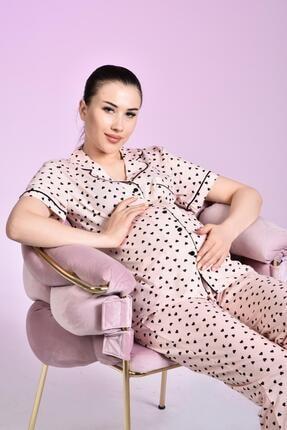 LİKAPA Penye Önden Düğmeli Hamile Lohusa Kısa Kol Pijama Takımı