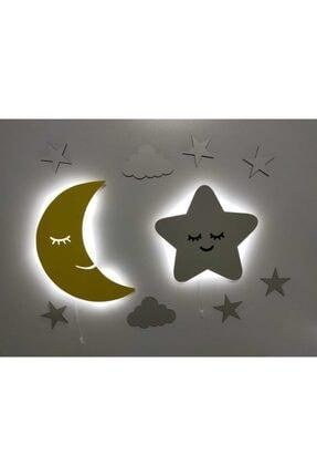 fabrikahşap Çocuk Odası Dekoratif Ahşap Işıklı Ay Sevimli Yıldız Gece Lambası Ledli Aydınlatma