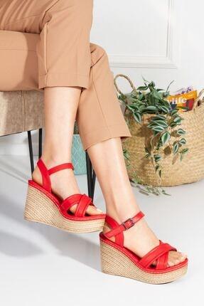 derithy Midstein-dolgu Topuklu Ayakkabı-kırmızı-lzt0605