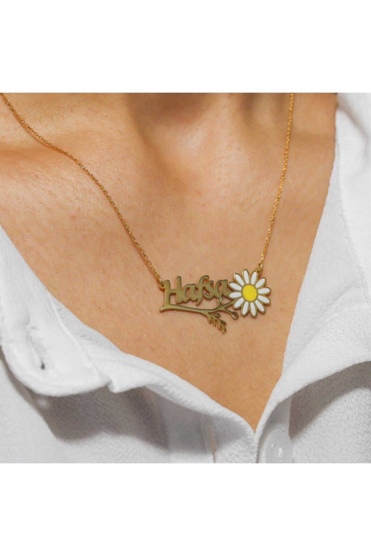 Silverplus Kişiye Özel Isimli Altın Renk Gümüş Bayan Papatya Kolye 2