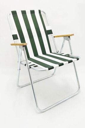 Eymense Yeşil Çubuklu Plaj Sandalyesi