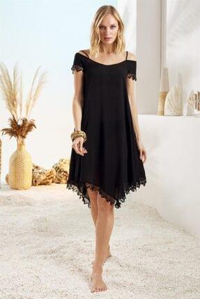Pierre Cardin Kadın Siyah Düşük Omuz Detaylı Vual Elbise 211845