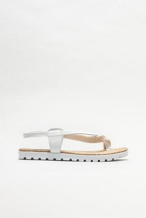 Elle Shoes Kadın Beyaz Parmakarası Sandalet