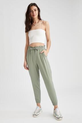 DeFacto Kadın Yeşil Beli Bağcıklı  Pantolon