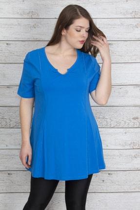 Şans Kadın Mavi Pamuklu Kumaş Yaka Ve Kup Detaylı Tunik 65N23537