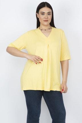 Şans Kadın Sarı V Yakalı Ön Detaylı Bluz 65N23617