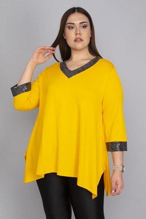 Şans Kadın Sarı Yaka Ve Kol Ağzı Payet Detaylı Asimetrik Bluz 65N23569
