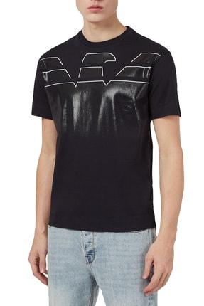 Emporio Armani Erkek Lacivert Baskılı Bisiklet Yaka Pamuk T Shirt 3k1tc0 1julz 0920