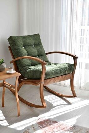 Evimart Home Ahşap Sallanan Koltuk-tv Koltuğu-dinlenme- Kitap Okuma Berjer Yeşil