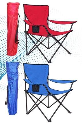 Shey Çantalı Kamp Sandalyesi  1 Kırmızı - 1 Mavi