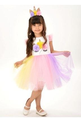 Buse&Eylül Bebe Kız Çocuk Beyaz Unicorn Figürlü Taçlı Elbise