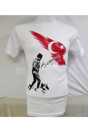 nacar çarşı Unısex Çocuk Kırmızı Beyaz Atatürk Baskılı T-shırt