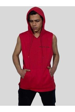 BREEZY Erkek Sıfır Kol Kapüşonlu Kanguru Cepli Kırmızı Tshirt Keep On Rising