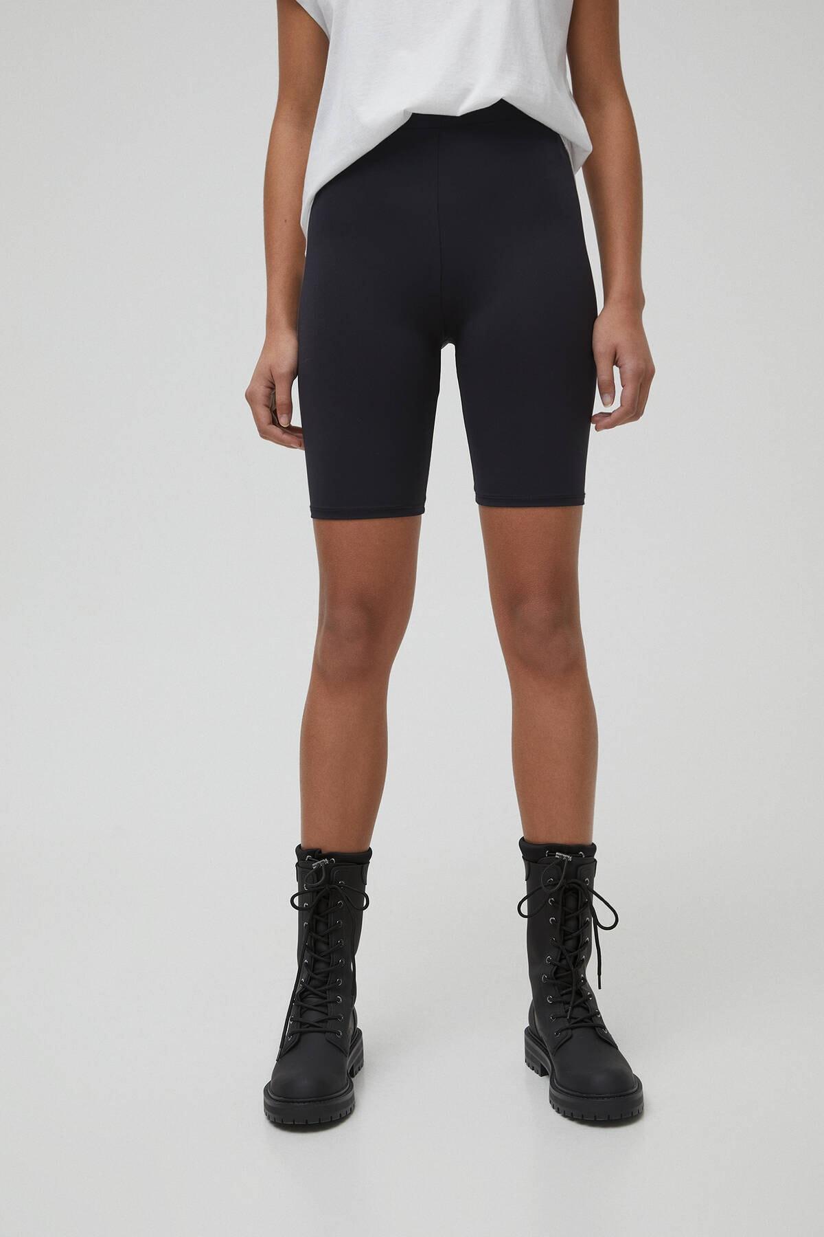 Pull & Bear Kadın Siyah Siyah Basic Bisikletçi Taytı 05690313