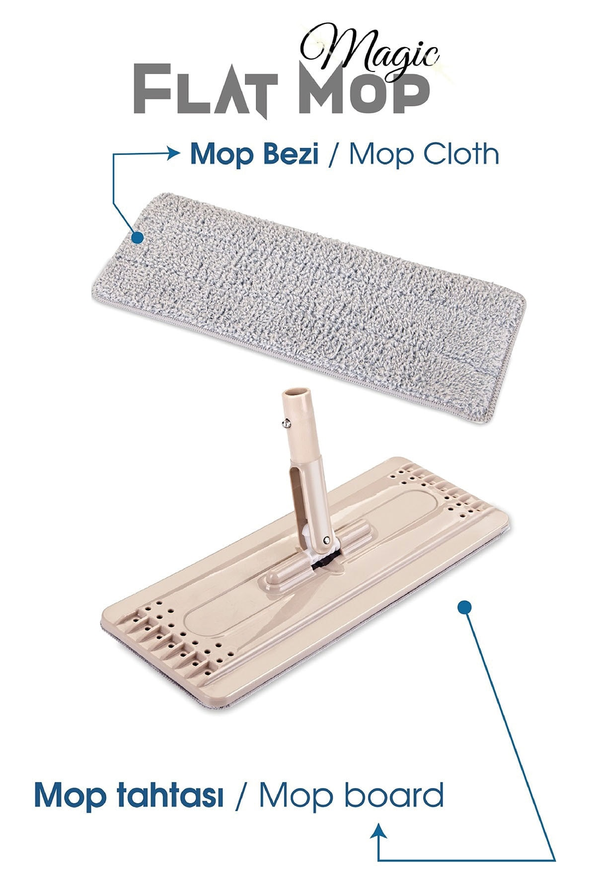Dünya Plastik Magic Flat (Tablet) Mop Set 4 Microfiber Bez 1