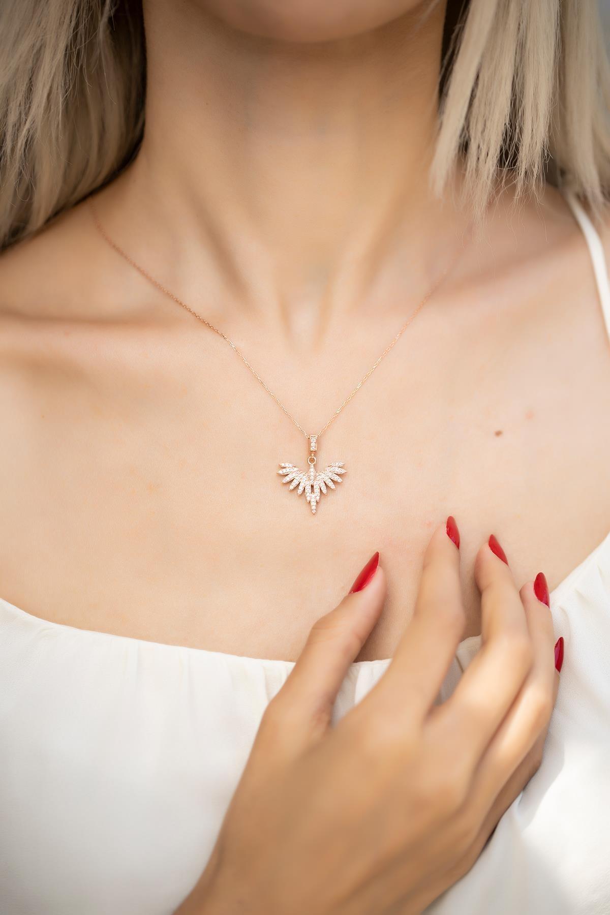 İzla Design Kadın Anka Kuşu Model Rose Kaplama Gümüş Kolye İZLASLVR00501 0