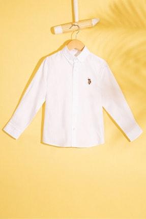 US Polo Assn Beyaz Erkek Çocuk Dokuma Gomlek 0