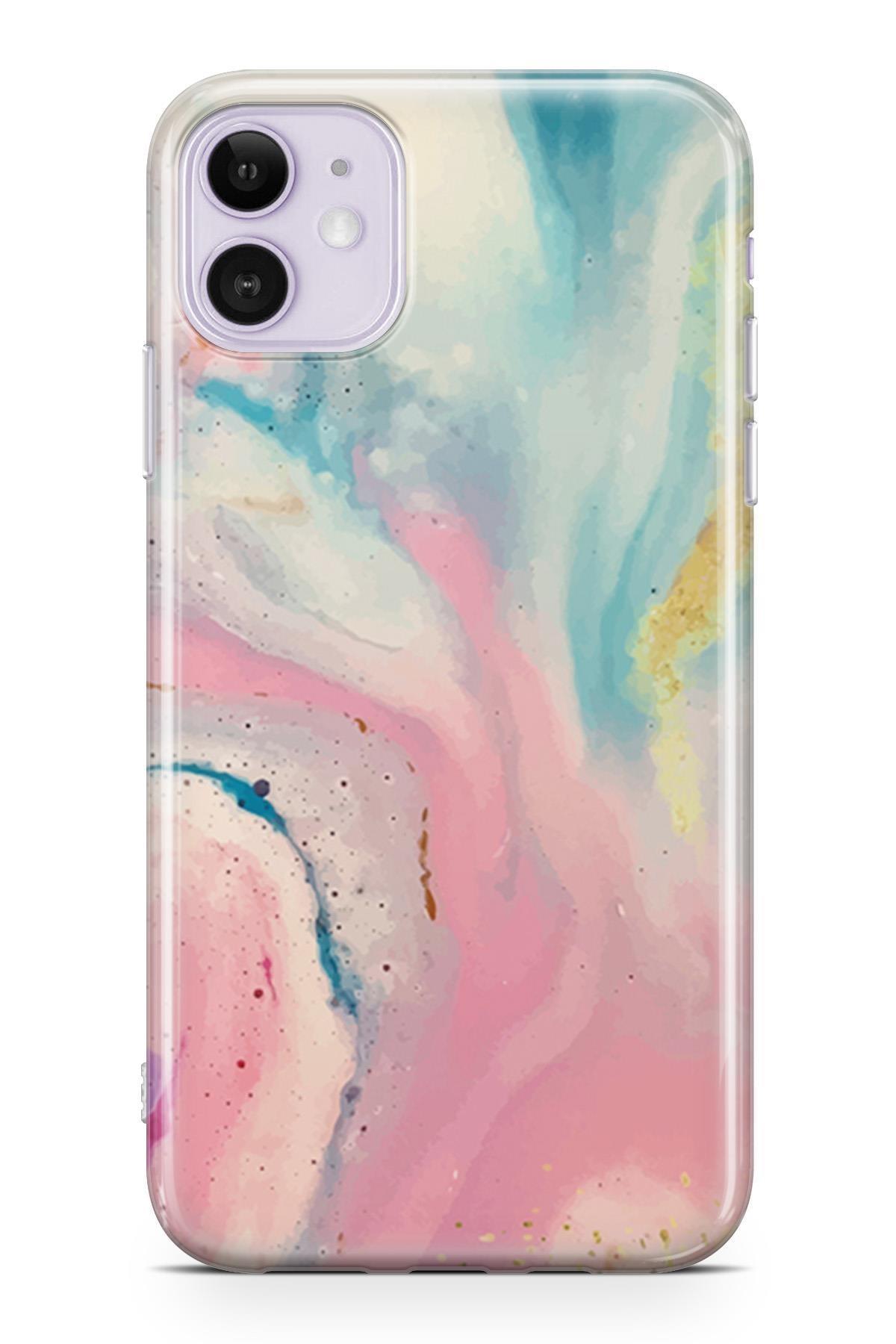 Melefoni Apple iPhone 11 Kılıf Marble Mermer Serisi Ebruli 0