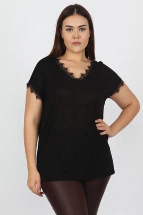 Şans Kadın Siyah Dantel Detaylı Bluz 65N13235 0