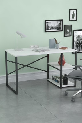Bofigo 60x120 Cm 2 Raflı Çalışma Masası Bilgisayar Masası Ofis Ders Yemek Masası Beyaz 0
