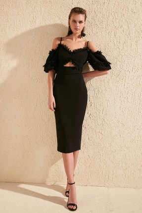 TRENDYOLMİLLA Siyah Yaka Detaylı  Elbise TPRSS20EL0015 0