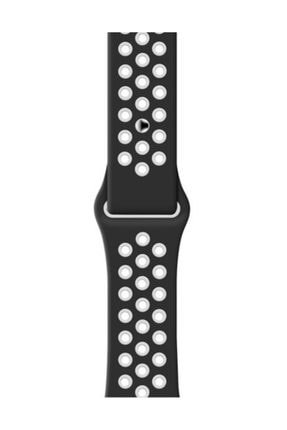 Schulzz Apple Watch 42-44 Mm 2-3-4-5 Spor Delikli Silikon Kordon Siyah 2