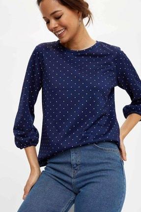 Defacto Kadın Lacivert Baskılı Uzun Kollu T-Shirt N3747AZ.20SP.NV42 0