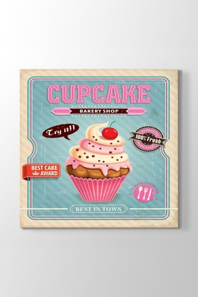 TabloShop Cupcake Retro Tablo (Model 3) - (ÖLÇÜSÜ 40 X 40 cm) 0
