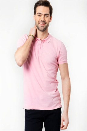 Tudors Slim Fit Polo Yaka Pembe Erkek T-Shirt 0