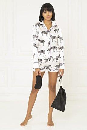 5 Li Zebra Desen Saten Pijama Takım