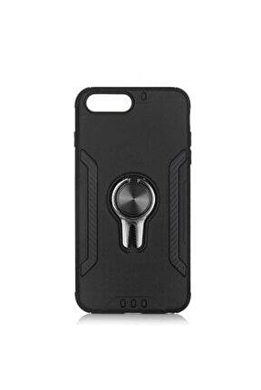 Iphone 7 Plus Kılıf Kamera Korumalı Mıknatıs Yüzüklü Silikon Siyah + 5d Cam