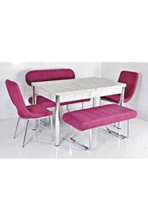 6 Kişilik Masa Sandalye Takımı Açılır Mutfak Masası Banklı Mutfak Masası Bank Takımı Masa Takımı