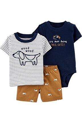 Erkek Bebek 3'lü Köpek Desenli Body,şort Ve Tişört Set