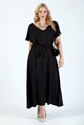 Kadın Siyah Dökümlü V Yaka Uzun Büyük Beden Elbise