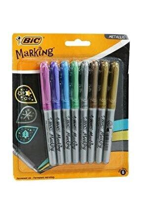 8'li Marking Color Blırter Metalik Renkli Markör Kalem