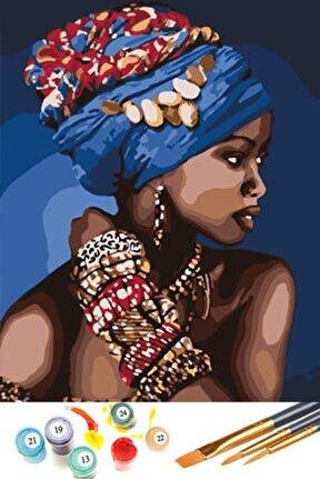 Afrikalı Güzel Sayılarla Boyama Hobi Seti 40x50 cm