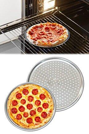 Delikli Alüminyum Pizza Fırın Tepsisi 32 Cm