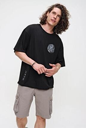 Erkek Siyah Bisiklet Yaka Yin Yang Baskılı Oversize T-shirt 21s106